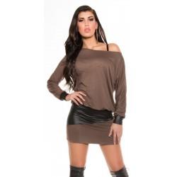 Tunique femme taupe et noire à manches chauve-souris