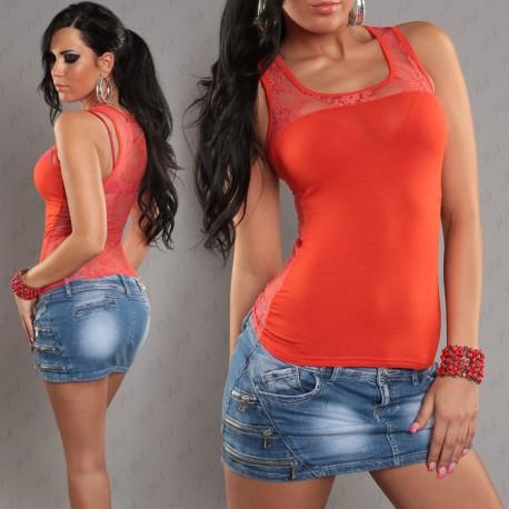 Débardeur femme orange avec dentelle