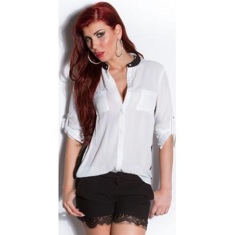 Chemise femme blanche avec petit col montant noir