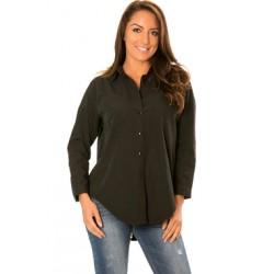 Chemise noire avec fermeture zippée au dos