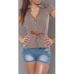 Chemise manches courtes avec dentelle taupe