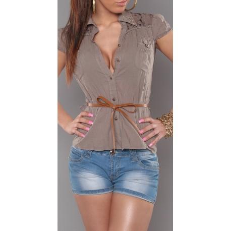 Chemise femme manches courtes avec dentelle taupe