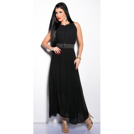Robe longue noire avec col froncé et sa ceinture