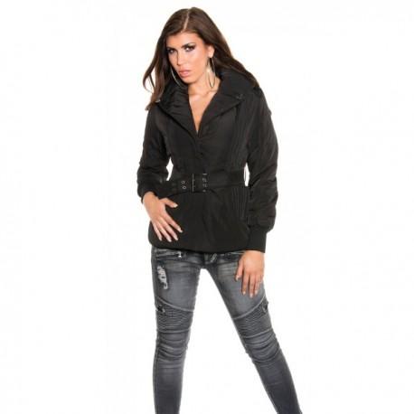 Doudoune courte femme noire avec ceinture et large col