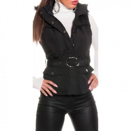 Doudoune sans manche femme noire avec capuche fourrure