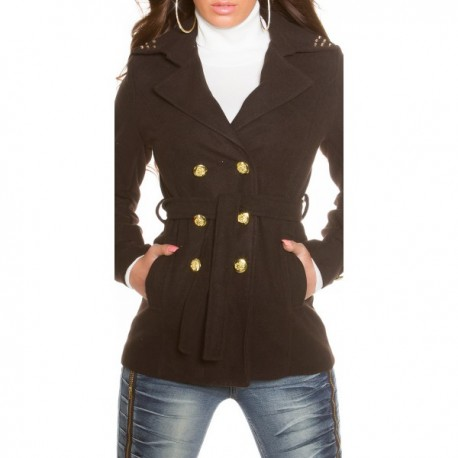 Manteau court noir avec ceinture