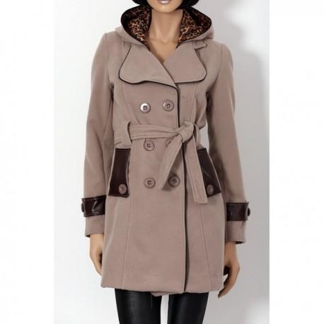 Manteau long femme taupe et léopard à col revers et capuche
