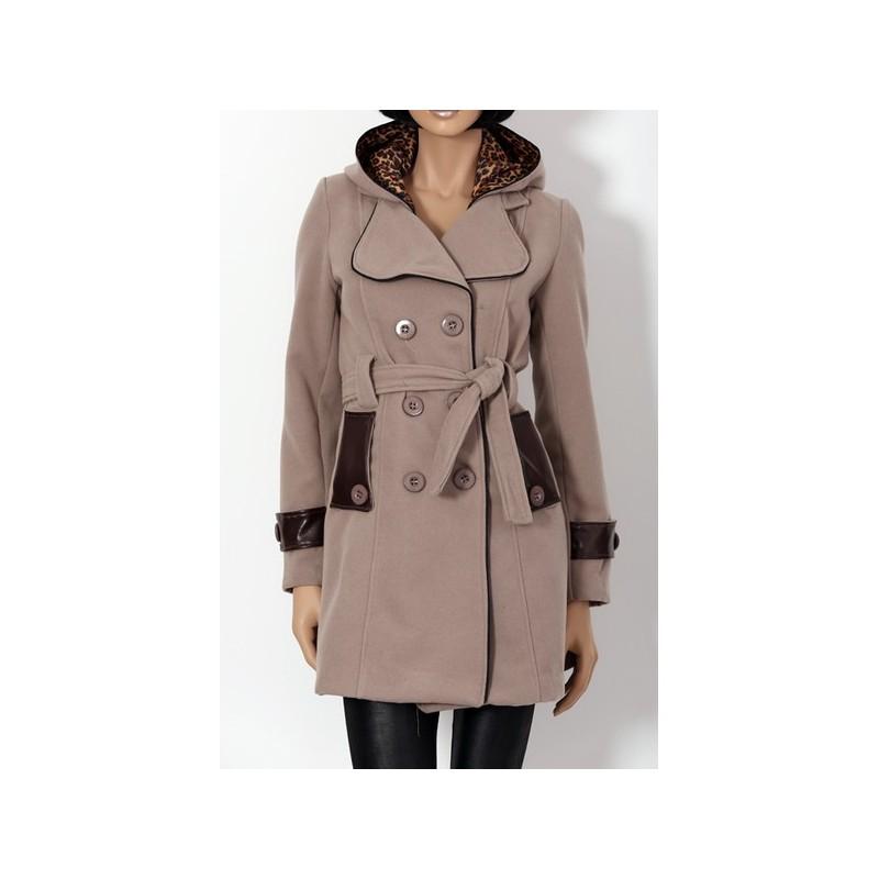 manteau femme col revers capuche