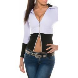 Gilet noir et blanc à zip