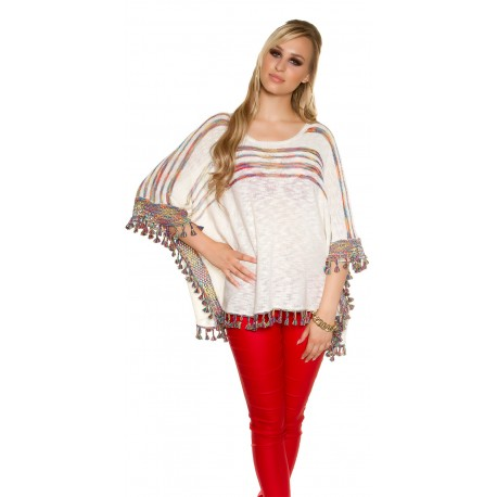 Poncho blanc façon crochet franges colorées femme