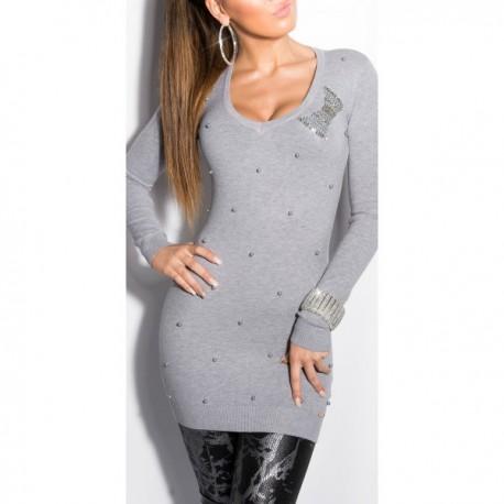 Pull tunique femme pas cher gris avec perles et nœuds