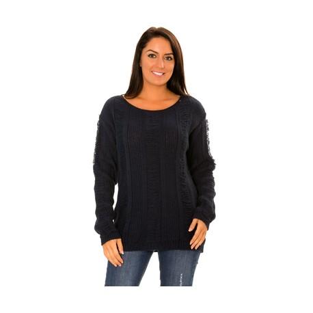 Pull femme pas cher bleu marine grosse maille en laine