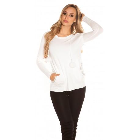 Pull blanc à capuche avec lacets à pompons