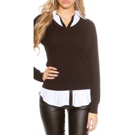 Pull chemise 2 en 1 long noir et blanc