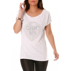 T.shirt blanc avec strass