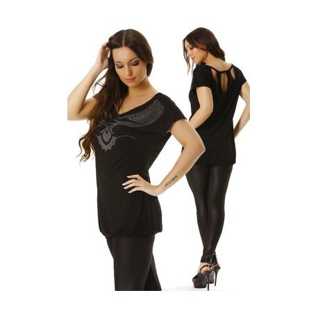T.shirt noir avec strass