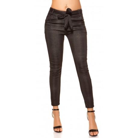 Pantalon noir imprimé effet carreaux gris